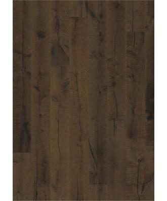 Kahrs parkett Eik Tveta håndskrapet, børstet, sagmerker, faset, farget olje. 15x187x2420mm
